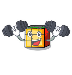 Fitness rubik cube character cartoon vector