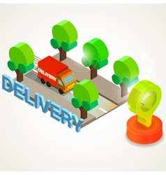 Flat 3d isometric express delivery services vector image