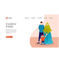 Flat cartoon muslim family vector