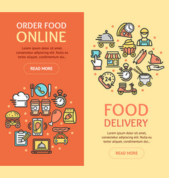 food delivery service banner vecrtical set with vector image