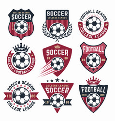 Football collection nine colored emblems vector