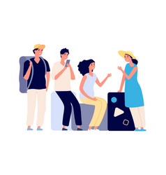 Friends vacations people with luggage flat vector