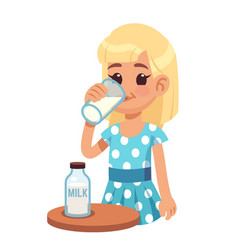 girl drinks milk cartoon happy kid drinking cow vector image