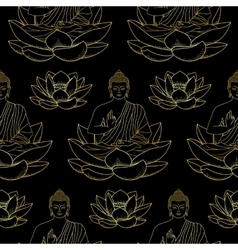 Gold Buddha sitting on Lotus Seamless Pattern vector