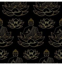Gold Buddha sitting on Lotus Seamless Pattern vector image