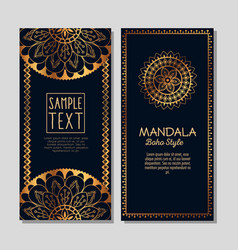 Golden mandala boho style flyers vector