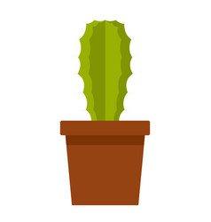 Green potted cactus icon isolated vector