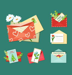 greeting letters with floral cards set bright vector image