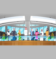 Group of arabic business people in modern office vector