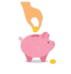 Hand down a coin in piggy Bank vector