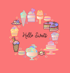 hello sweets colorful icons of sweets vector image