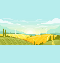 horizontal rural landscape with field vector image