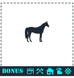 Horse icon flat vector