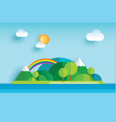 Island and sea in summer origami paper art vector