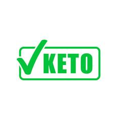 Keto diet label green check mark stamp ketogenic vector