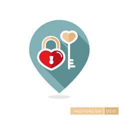 Key and lock in heart shape pin map icon vector