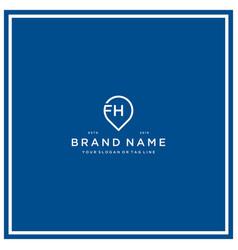 Letter fh pin logo design vector