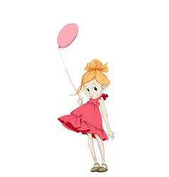 little girl with a balloon cartoon character vector image