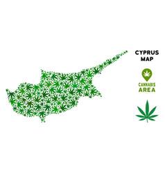 Marijuana mosaic cyprus island map vector