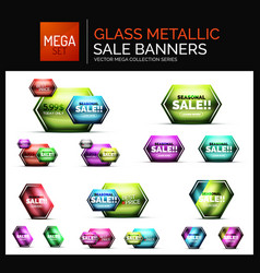mega collection of glossy geometric shiny glass vector image