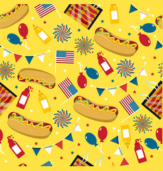 National hot dog day hot dog seamless vector