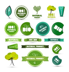 Natural Product Green Labels - Tags - Stickers Set vector image