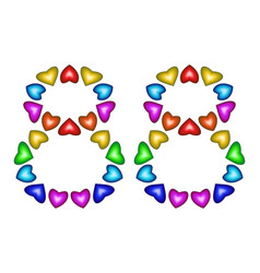 number 88 eighty eight of colorful hearts on white vector image