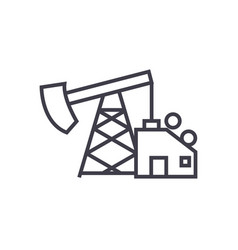 oil pump jack line icon sign vector image