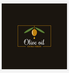 Olive oil extra logo on black background vector