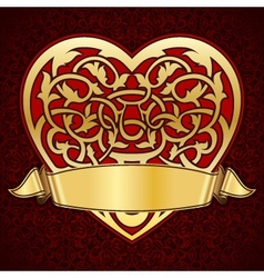 ornamental heart with gold ribbon for valentine da vector image