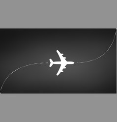 plane with track travel concept isolated on black vector image