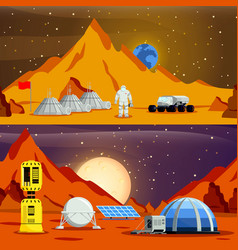 Planet colonization flat compositions vector