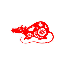 rat chinese zodiac symbol new year 2020 ornament vector image