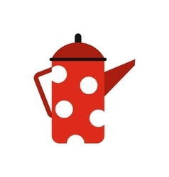 Red coffee pot with polka dots icon flat style vector image