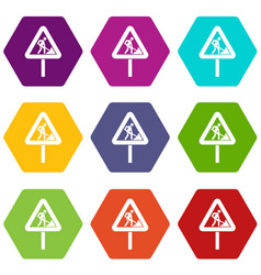 Road works sign icon set color hexahedron vector