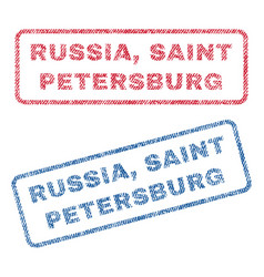 Russia saint petersburg textile stamps vector
