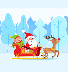 santa claus and elf riding sleigh christmas time vector image