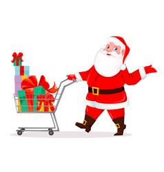 Santa claus with shopping cart full presents vector