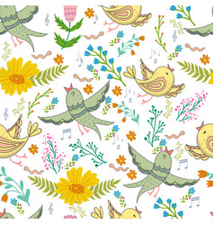 seamless pattern birds and flowers in vector image