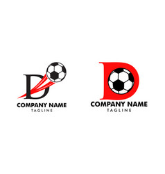 set d letter logo football ball logo design vector image