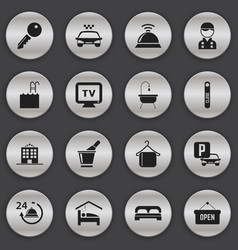 set of 16 editable hotel icons includes symbols vector image