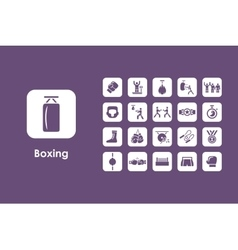 Set of boxing simple icons vector