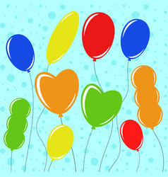 Set of flat colored isolated balloons on the vector