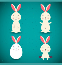 Set of four easter rabbits on blue background vector