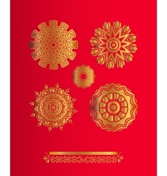Set of gold snowflakes Christmas background vector image