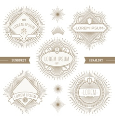 Set of line heraldic emblems with sunburst vector image