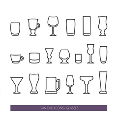 Set with thin line icons with glasses vector image