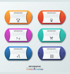 six colorful rounded elements with two arrows on vector image