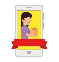 smartphone with woman receiving merchandise vector image