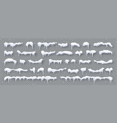 Snow ice caps isolated on transparent background vector